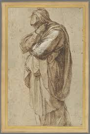 michelangelo buonarroti study of a mourning woman ca 1500 05 pen and brown ink heightened with white lead opaque watercolor 26 16 5 cm courtesy