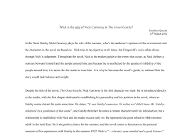 what is the role of nick carraway in the great gatsby a level  document image preview