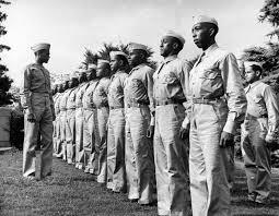 tuskegee airmen u s military s first black pilots com captain davis reviews new cadets undergoing pre flight training at base