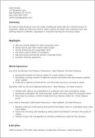 Video Production Specialist Sample Resume Production Resume Sample shalomhouseus 12