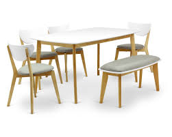 table 4 chairs and bench. 6 piece dining set, arthur oak table, 4 naida chairs, bench table chairs and i