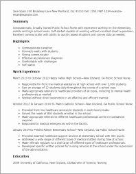 Nursing School Resume Template Stunning School Nurse Resume
