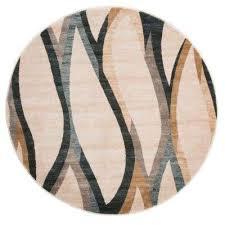 opus contemporary curves cream 5 ft x 5 ft round area rug