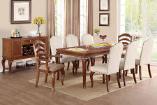 formal traditional large dining table chairs 9pc dining set faux leather chair