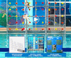 kersplash clear pool climbing wall