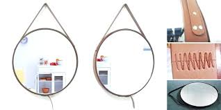 round leather mirror us per pieces designer decorative wall hanging chain round mirror with leather round leather mirror