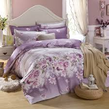 king size purple flower bedding set 100 cotton duvet cover bed linen set reactive printing bedclothes comfortable bed set 4pcs in bedding sets from home