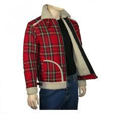 caves clothes red tartan check fun fur collar retro dallas jacket