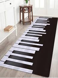 piano pattern water absorption area rug black white w16 inch l47 inch