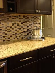 Kitchen Backsplash With Granite Countertops Simple Glass Tile Backsplash Venetian Gold Granite Countertop Chocolate