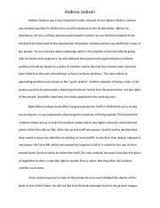 s writing assignment international trade article s  2 pages andrew jackson essay