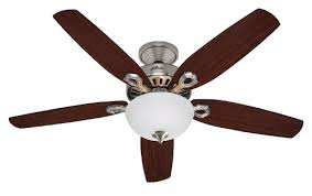 hunter builder deluxe 52 inch indoor brushed nickel ceiling fan with light kit