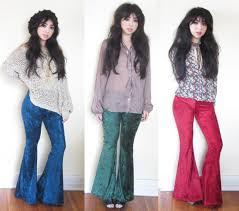 custom you choose color stretch crushed panne velvet bell bottom flares 65 00 via
