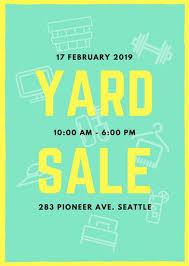 Mint Green And Yellow Yard Sale Flyer Templates By Canva
