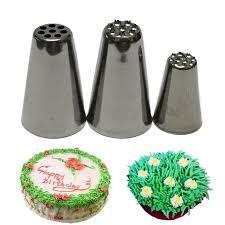 3 Pcs Kue Krim Rumput Bulu Cupcake Dekorasi Icing Piping Nozzle Tip