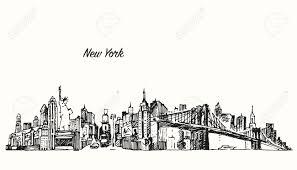 new york city skyline vector vintage engraved ilration hand drawn sketch