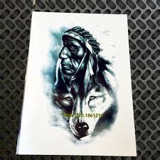 1 шт старого индейца человек с волк тотем временные татуировки для для мужчин