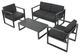 Nealie 4 Piece Chat Set Dark Gray Contemporary Outdoor Lounge