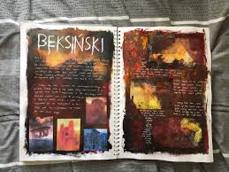 gcse sketchbook looking at beksiński and exploring colour and texture