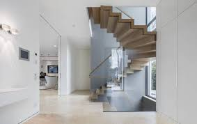 zig zag winder wooden stairs with winded steps and glass barade