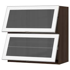 Horizontal Kitchen Wall Cabinets Sektion Horizontal Wall Cabinet 2glass Door White Jutis Frosted