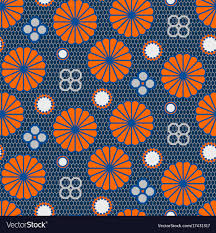 Japanese Pattern Impressive Japanese Pattern In Blue And Orange Colors Vector Image