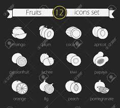果物シルエット アイコンを設定します黒板はチョーク図面記号スライス フルーツ現実的なイラストです菜