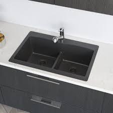 René Granite 33 L X 22 W Double Basin Drop In Kitchen Sink With