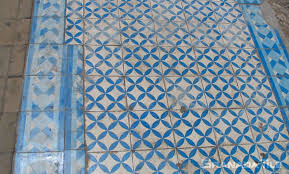 floor old blue and white pattern for cement tile pathway