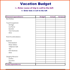 travel budget worksheet vacation budget template template business
