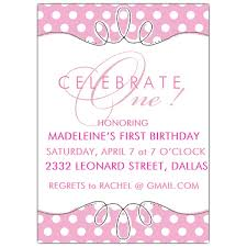 Polka Dot Invitations First Birthday Pink Polkadot Invitations