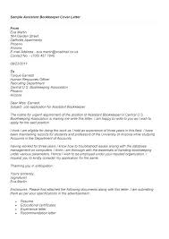 Cover Letter Bookkeeper Cover Letter For Bookkeeper Letters Samples
