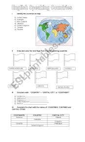 English Speaking Chart English Speaking Countries Esl Worksheet By Ginarredondo