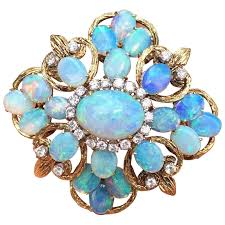 large opal and diamond cer and 14k gold large brooch pendant