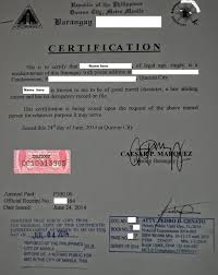 Sample Of Certificates Of Good Moral Character Sample Of A Barangay