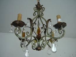 antique cast iron crystal chandelier 4 lights