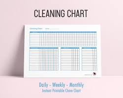Cleaning Chart Printable Daily Weekly Monthly Chore Tracker Cleaning Tracker Blue Chore Chart Cleaning Printable Chore Planner