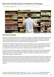 premiumessays net business studies essay on demand and supply