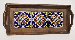 vintage wood and ceramic tile tray platter decorative