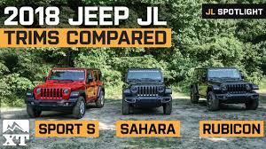 Jeep Comparison Chart 2018 Jeep Wrangler Jl Trims Explained Differences Between Sport Sahara And Rubicon