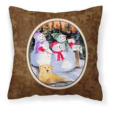 carolines treres snowman with golden retriever decorative outdoor pillow walmart