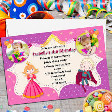 superheroes party invites 10 personalised princess super hero s birthday party photo