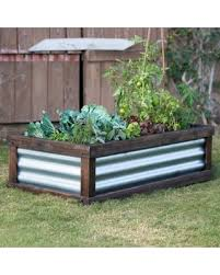 corrugated metal raised garden beds. Coral Coast Guthrie Corrugated Metal \u0026 Wood Raised Garden Bed - 4L X 2W Beds