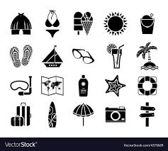 Summer Icons Black On White