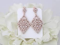 rose gold earrings chandelier earrings art deco earrings wedding earrings bridal earrings crystal earrings rose gold jewelry statement
