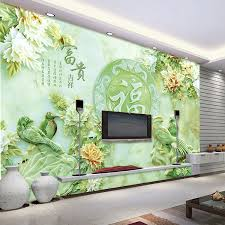 3D Jade carving wallpaper Unique Design Wall Mural flower and bird Photo  Wallpaper Silk Large Wall Art Chinese Style Room decor-in Wallpapers from  Home ...