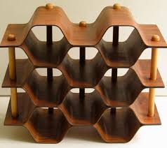 swedish birch and rosewood wine rack from hi and lo modern these honeycomb rosewood wine racks turn up a lot in antique and thrift s