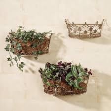 bronze metal wall mounted basket planter with fl ornament with wall planters indoor canada also wall
