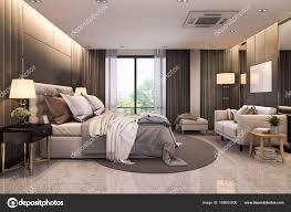 Rendering Modernen Loft Luxussuite Mit Schlafzimmer Sofa Der Nähe