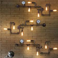 cheap rustic lighting. Vintage Steampunk Pipe Bar Wall Lamp Industrial Rustic Loft Fixture Fitting Bedroom Light E27 Cheap Lighting H